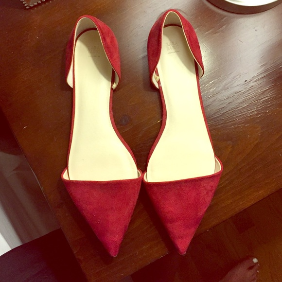 Zara Shoes | Red Pointed Toe Flats