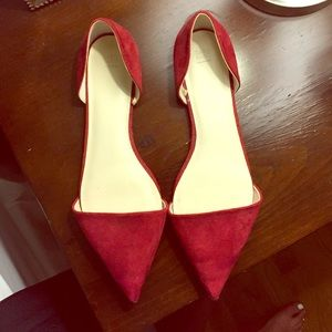 Red pointed toe flats
