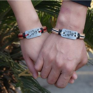 Jewelry - Leather Friendship Love Engraved Bracelet