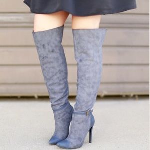 Izabella Rue Shoes - Blue Faux Suede & Leather Over The Knee Boots