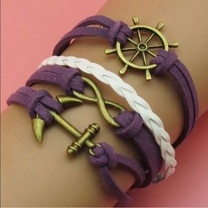 Jewelry - Purple and White Anchor Infinity Wrap Bracelet