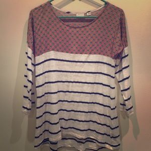 Anthropologie Postmark mixed print blouse NWOT
