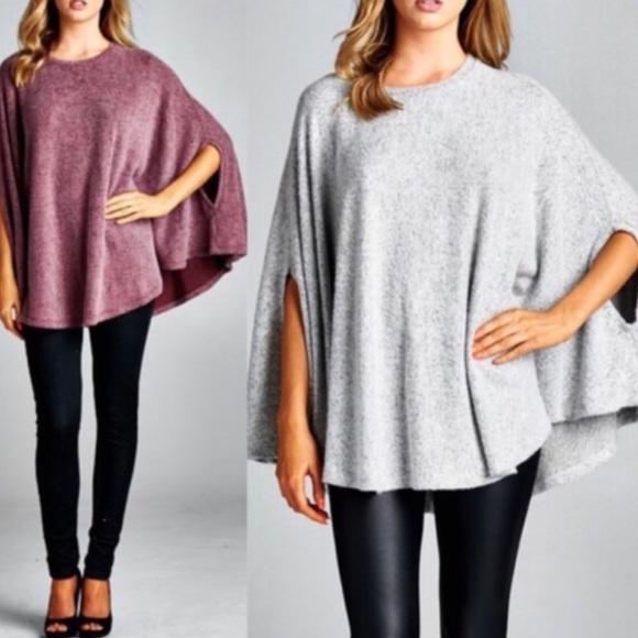 c36b116542da58 💠💠The AVELINE knit poncho top - BURGUNDY