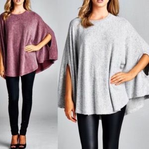 The AVELINE knit poncho top - BURGUNDY