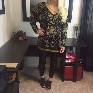 MINKPINK Black & Gold Baroque Sweater