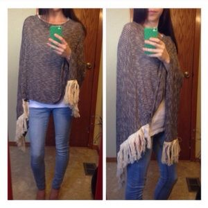 FINAL PRICE • Charcoal Fringe Knit Poncho