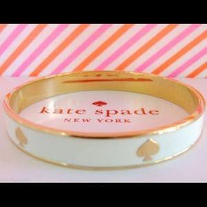 KATE SPADE CREAM WHITE GOLD SPADE BANGLE BRACELET