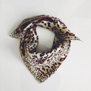 Silky Red Leopard Scarf
