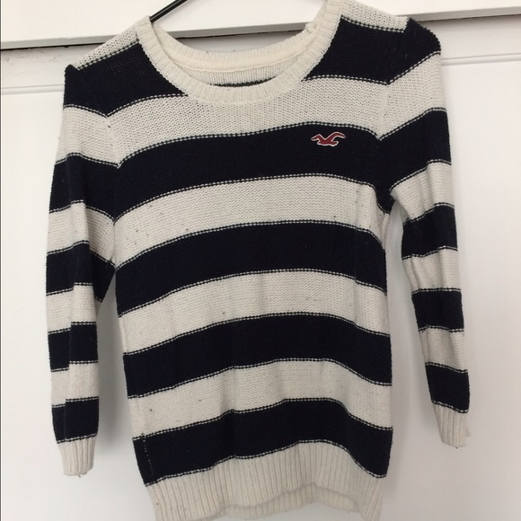 50% off Hollister Sweaters - Hollister Navy Blue/ White Striped ...