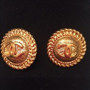 Authentic Chanel Gold Clip-On Earrings
