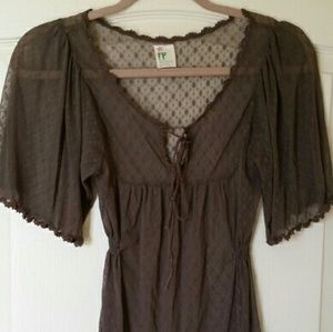 Free People Sheer Lace Peasant Top w Ties