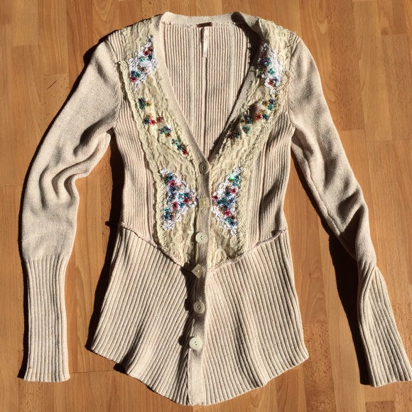 Free People Sweaters - Free People Sequin Lace cardigan XS pristine!