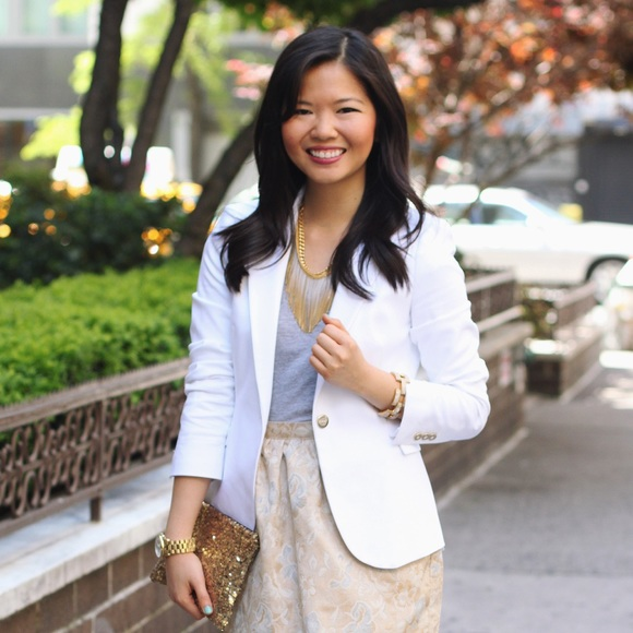 85% off Zara Jackets & Blazers - White Blazer with Gold Buttons ...