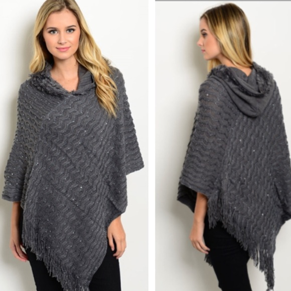 pink berry boutique Sweaters - Gray poncho
