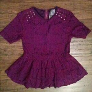 NWOT ModCloth Maroon Lace Peplum Top