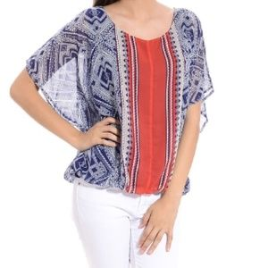 Halo Tops - Aztec Print Batwing Top Small NWOT