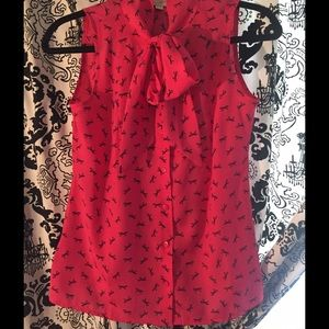 Ann Taylor Blouse pink black bow NWT. Never Worn.
