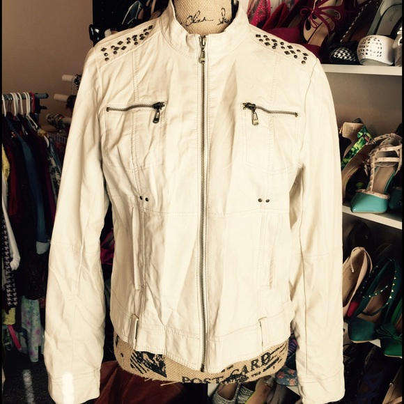 Wet Seal Jackets & Blazers - Ivory/Cream faux leather Jacket NWT