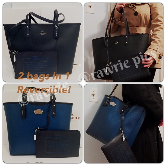 fc27ab0eb8f New Coach Reversible large tote black blue NWT