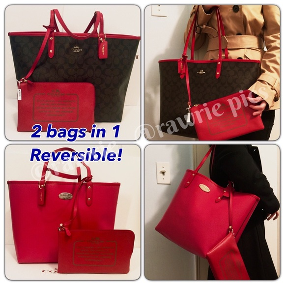 74a9423041 New Coach Reversible large tote signature red