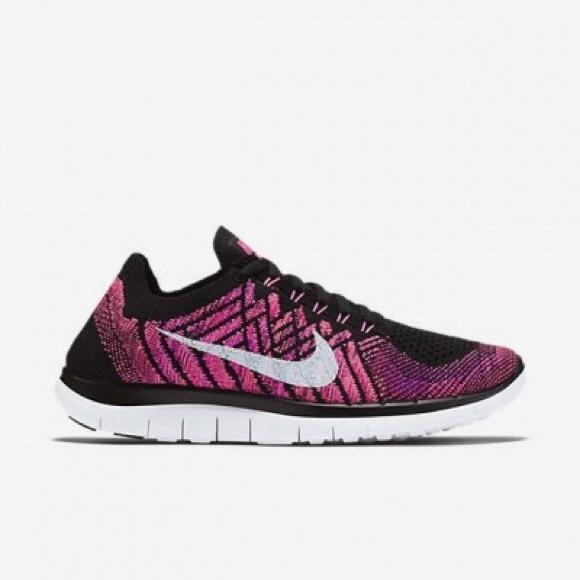 36d66caf19e9 NIB Women s Nike Free 4.0 Flyknit Black Pink 7.5