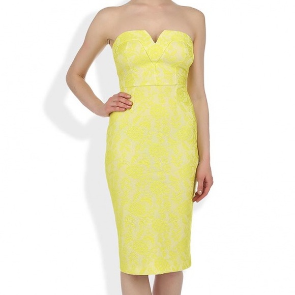 River Island Yellow Lace Bandeau Dress