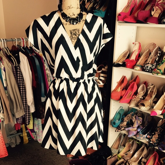 Charlotte Russe Dresses - Black & White Chevron Dress Reduced!!!