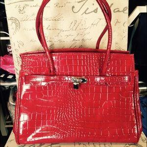 Handbags - Croc embossed locket purse