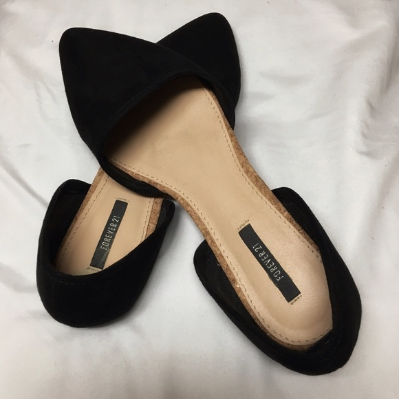 Forever 21 Shoes - Black Pointed Faux Suede Flats. 6158fca3f0
