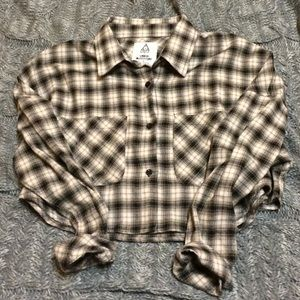 UNIF X Urban Outfitters Plaid Button-Down Crop Top