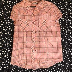 Girls Snap Up Plaid Tee