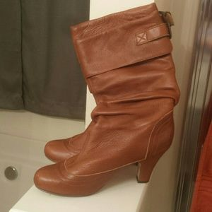 Steve Madden Leather Cognac Boots