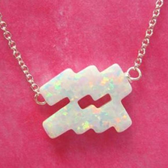Aquarius Zodiac Symbol in White Opal Necklace, NWT Boutique