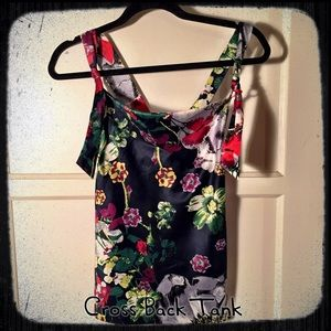 Tops - Silky Floral pattern tank w/ adjustable straps XS