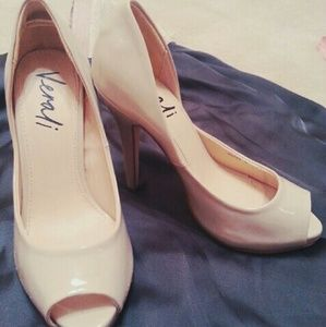 Vaneli Shoes - Patented Leather Nude Pumps