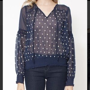 Polka dot sheer v-neck shirt