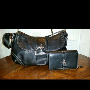 Black leather Coach with wallet