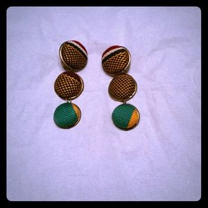 Accessories - Kente Cloth fabric Clip Earrings from Ghana