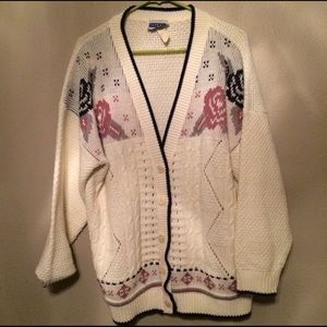 Vintage rose knitted cardigan