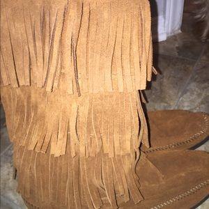 Fringe boots. Never worn.