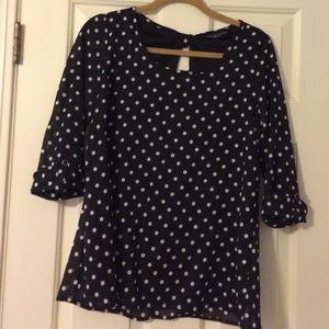 Tops - Black and white polka dot key hole top