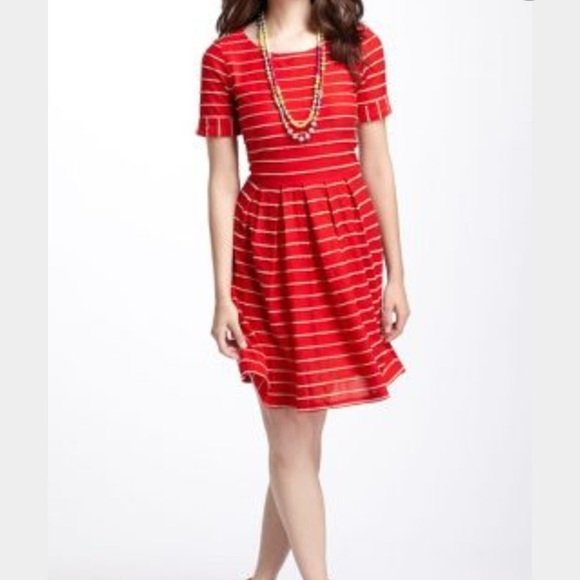 Anthropologie red white striped dress