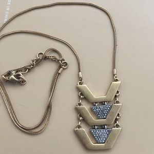 Long gold silver JCrew two tone tiered necklace