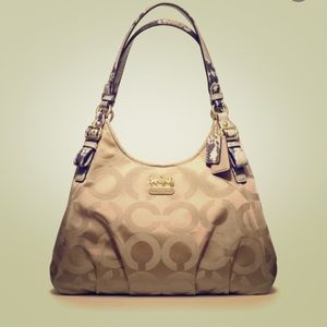 Coach Madison beige and gold handbag