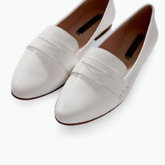 Zara Shoes   Zara White Loafers Size 9