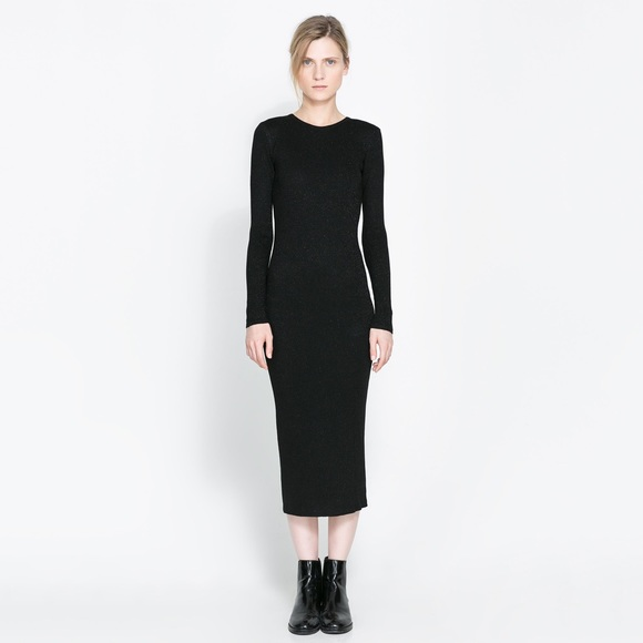a8e3c449af Zara Black Knit Wide Rib Midi Crew Sweater Dress M