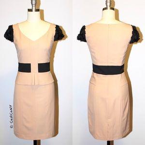 Dresses & Skirts - Beige & Black Cocktail Sheath Pencil Dress