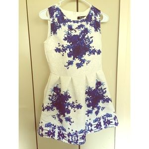 OASAP Dress White and Blue Floral
