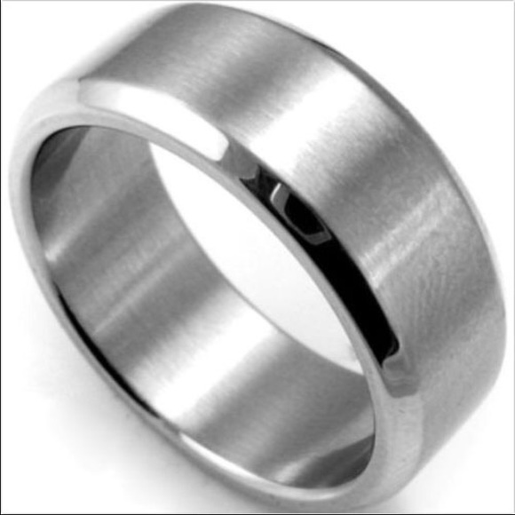 Stainless Steel Mens Wedding Band Ring 8mm: Mens 8MM Titanium Steel Wedding Band Ring