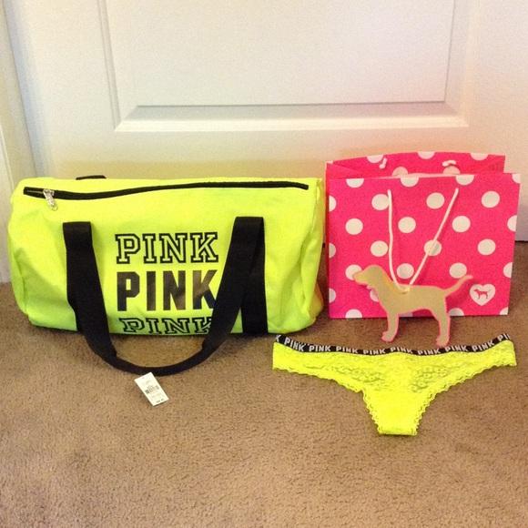 fd4948eac30 PINK Victoria s Secret Bags   Vs Pink Bundle Neon Lemon Duffle Bag ...